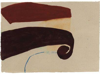 Suzan Frecon, 'Untitled (Dark Red & Vermillion Shapes, Blue Stroke)', 2003
