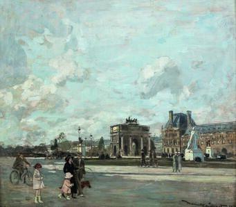 Amedeé Julien Marcel-Clément, 'Paris, l'arc de triomphe du Carrousel et le pavillon de Marsan', 1923