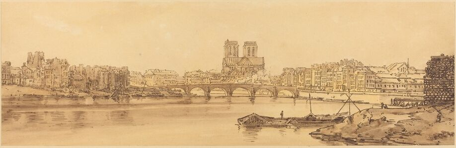 Thomas Girtin, 'View of Pont de la Tournelle and Notre Dame Taken from the Arsnel: pl.11', published 1802