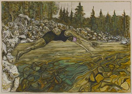 Billy Childish, 'diver, yuba river', 2020