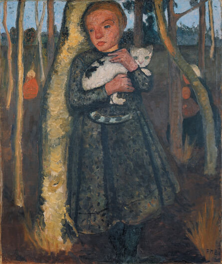 Paula Modersohn-Becker, 'Mädchen im Birkenwald mit Katze (Girl in a Birch Wood with a Cat)', 1904