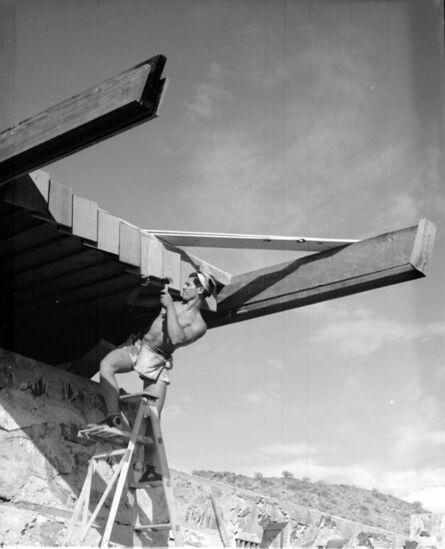 Pedro E. Guerrero, 'Taliesin West, Fountain Hills, AZ, Apprentice Working (Alfie Bush), Frank Lloyd Wright, Architect', 1940