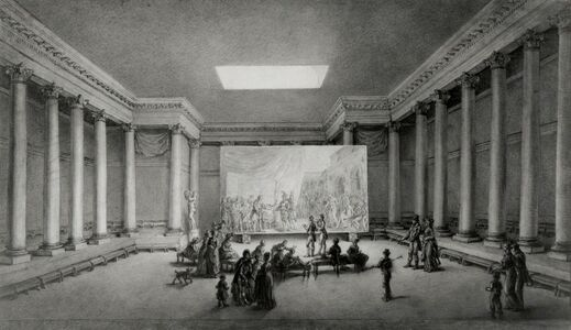 Jean-Pierre Norblin de la Gourdaine, 'An Assembled Company in a Neoclassical Building Admiring a Large Painting'