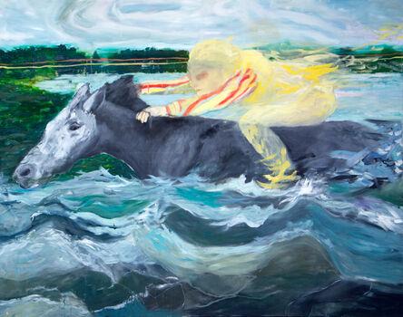 Geneviève Morin, 'Reve avec cheval dans l'eau / Oel auf Jute'