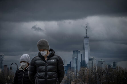 David Butow, 'March, 2020: With the skyline of lower Manhattan in the background, a couple strolls the boardwalk in Hoboken, NJ during the Covid Pandemic', 2020