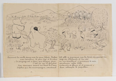 """Jean de Brunhoff, '""""Babar has gone for a walk along the banks of a large lake...,"""" illustration for Babar the King', 1936"""