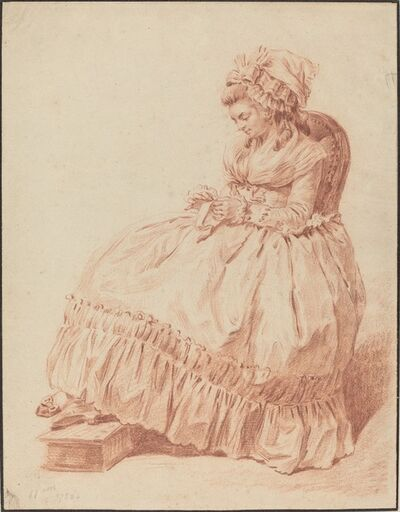 Louis Rolland Trinquesse, 'Seated Woman Sewing', 1788