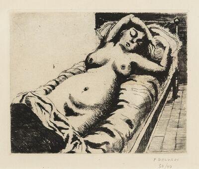 Paul Delvaux, 'Femme Nue Reste dans Une Lit', 1948
