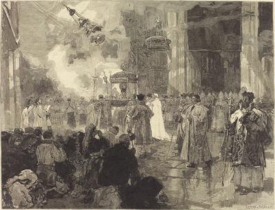 Daniel Vierge, 'Les Fêtes de Sainte-Jacques de Compostelle: La Procession des Réliques'