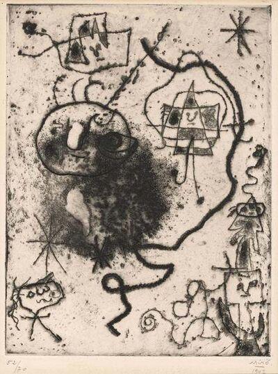 Joan Miró, 'PETITE FILLE SAUTANT À LA CORDE, FEMMES, OISEAU (DUPIN 52)', 1947