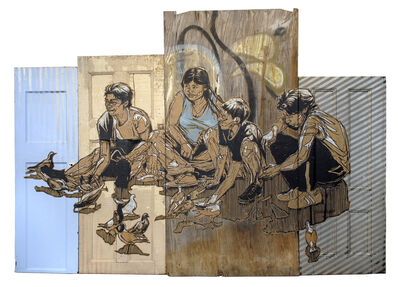 Swoon, 'Pigeon Family', 2018