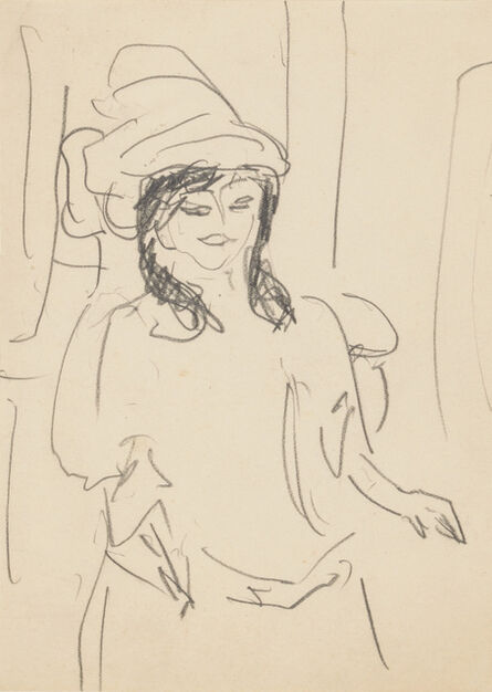 Ernst Ludwig Kirchner, 'Woman with Hat and Shoulder-Length Hair', 1909