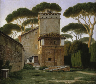 Christoffer Wilhelm Eckersberg, 'The so-called Raphael's Villa in the Garden of the Villa Borghese in Rome', 1814-1816