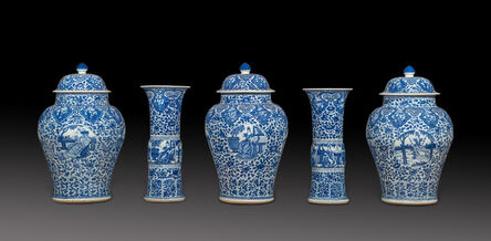 Unknown Artist, 'Blue and white Chinese porcelain five piece garniture decorated with European subject in underglaze blue', 1662-1722