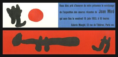 Joan Miró, 'Extremely rare 2-sided lithographic announcement to Galerie Maeght vernissage', 1953