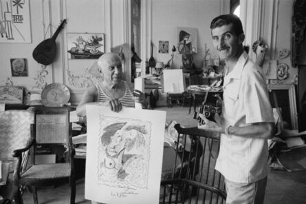 "Edward Quinn, 'Pablo Picasso and Edward Quinn with the litho ""seigneur et fille"", dedicated to Edward Quinn. La Californie, Cannes ', 1960"