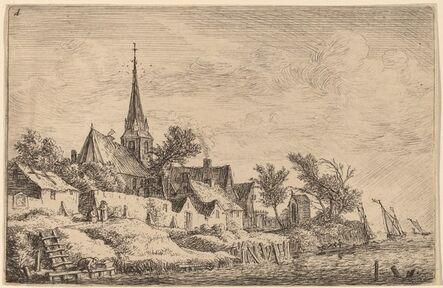 Anthonie Waterloo, 'Village Steeple at the Seaside'