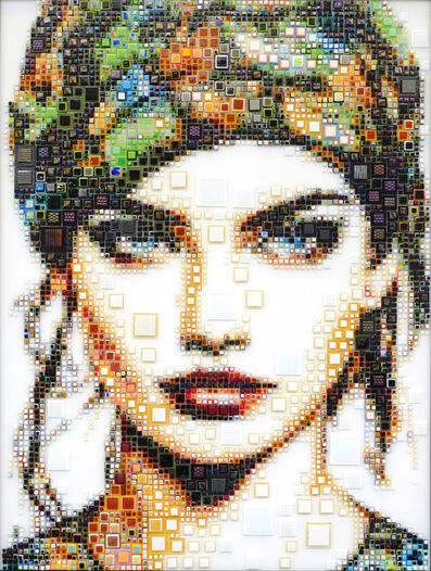 "Isabelle Scheltjens, '""Boho Girl"" -- glass fusing, pointillism, dots, optical effects, pop art, pop culture, beauty, magical, aesthetic, model, celebrity', 2021"