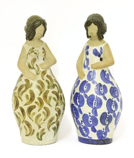 Curt Magnus Addin, 'A pair of stoneware skittle figures'