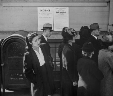 Dorothea Lange, 'Waiting for Registration, San Francisco ', 1942
