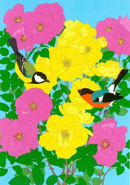 Robin Duttson, 'Bullfinch, Great Tit & Roses', 2013