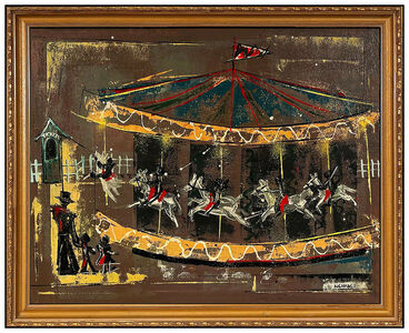 Edward Kienholz, 'Edward Kienholz Original Oil Painting On Board Signed Large Carousel Horse Art', 20th Century