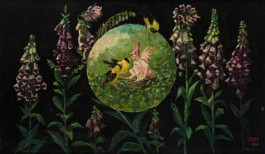 Frederick Stuart Church, 'Fox Gloves, Yellow Birds and Trouble', 1918