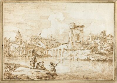 Marco Ricci, 'A Fortified Village along a River', 1720s