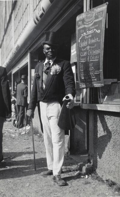 Walker Evans, 'Barker with Megaphone Outside Food Stand, New York City', 1928