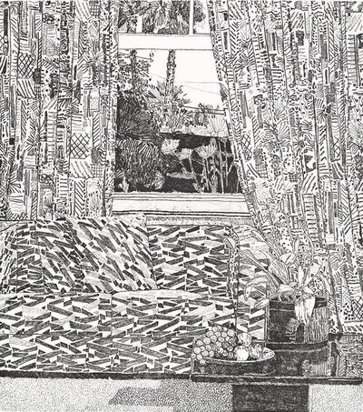 Jonas Wood, 'Pattern Couch Interior with mar Vista View', 2020