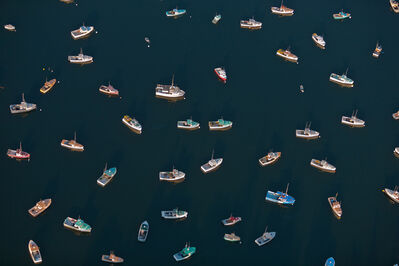 Alex Maclean, 'DIRECTIONLESS LOBSTER BOATS, TREMONT, MAINE, USA, 2008', 2008