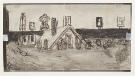 James Castle, 'Untitled (Farm buildings/house in flood)', n.d.