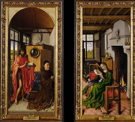 Robert Campin, 'Von Werl Altarpiece: John the Baptist and the Franciscan Theologian Heinrich von Werl, and Saint Barbara', 1438