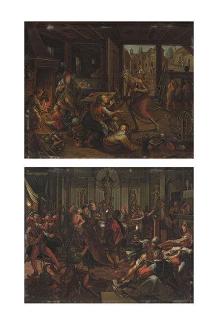 After Jan Sadeler I, 'Death visiting the poor; and A house of ill-fame'