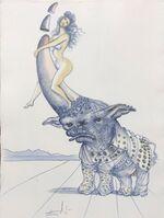 Salvador Dalí, 'Casanova - Girl on rhinoceros horn ', 1967