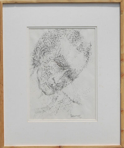 """Akbar Padamsee, 'Face, Chinese Ink on Paper by Padma Bhushan Modern Artist """"In Stock""""', 2007"""