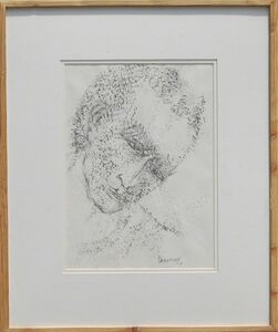 "Akbar Padamsee, 'Face, Chinese Ink on Paper by Padma Bhushan Modern Artist ""In Stock""', 2007"
