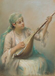 Fausto Zonaro, 'Woman Playing a String Instrument', Early 20th Century