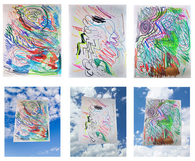 "Rob Pruitt, '""3-Test Doodles"", 2015, Studio Color Marker Tests on Paper, Each UNIQUE, Includes 3-SIGNED (blk. marker) Images on Epson Color Paper', 2015"