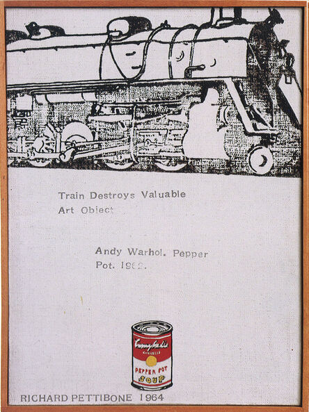 """Richard Pettibone, 'Train Destroys Valuable Art Object; Andy Warhol, """"Campbell's Soup Can (Pepper Pot)"""", 1962', 1964"""