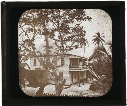 Augustus Le Plongeon, 'ADLP standing on porch of two story white house, Belize City', 1873-1924
