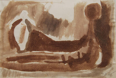 Somnath Hore, 'Reclining Woman Figurative, watercolor in brown, by Indian Padma Bhushan Awardee Somnath Hore', 1965