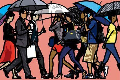 Julian Opie, 'Walking in the rain, Seoul ', 2015