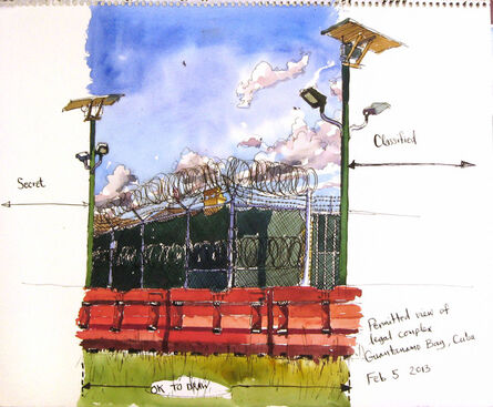 Steve Mumford, '2/5/13, Exterior Commission, Permitted view of legal complex, Guantanamo Bay, Cuba', 2013