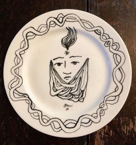Jean Cocteau, 'Christofle Porcelain Plate With Cocteau Art Deco Design Drawing', 1950-1959