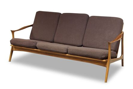 France and Sons, 'a 'model 711' walnut three seater sofa, after a design by Fredrik Kayser of recent manufacture with brown  upholstered cushions', Of recent manufacture