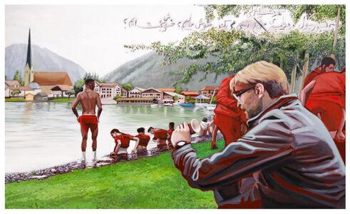 Rokni Haerizadeh, 'The Liverpool football team bathing in Kelardasht / Anzali Lagoon', 2019