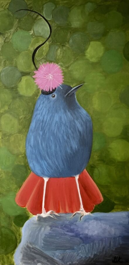 Gemma Kahng, 'water redstart wearing flower hat', 2020