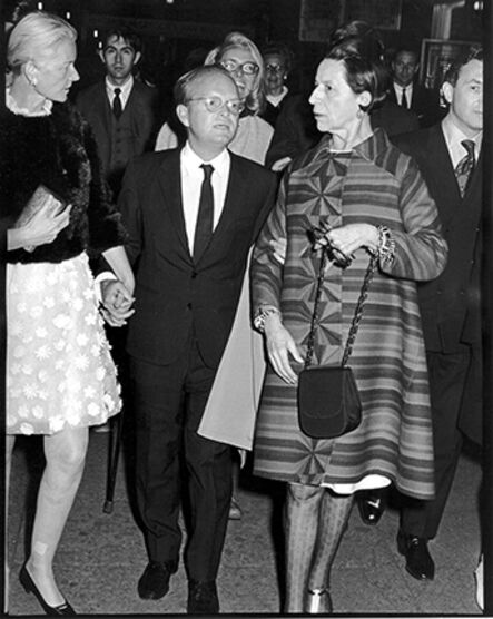 """Ron Galella, 'C.Z. Guest, Truman Capote, and Diana Vreeland, """"Trilogy"""" Premiere at the Arts Theater, New York', 1968"""
