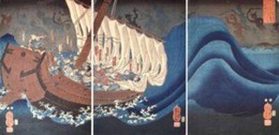 Utagawa Kuniyoshi, 'Taira Ghosts Attacking Yoshitsune's Ship', 1849-1852